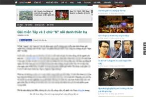 """Bài viết phê bình gái miền Tây """"3N"""" trên báo mạng Trí Thức Trẻ. (Hình: Vietnam Net)"""