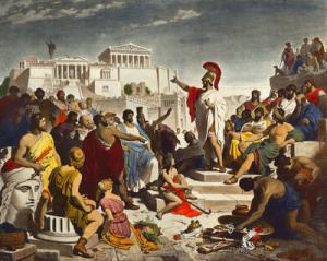 Thành Aten, Hy lạp được xem là nơi sinh ra của tư tưởng Dân chủ từ thế kỷ thứ 5 trước Công nguyên.