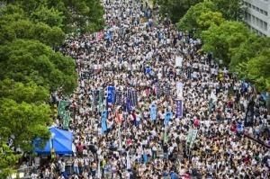 Ảnh: Sinh viên các trường đang tập trung tại Đại học Trung văn Hồng Kông chiều ngày 22-9-2014 - Ảnh: AFP