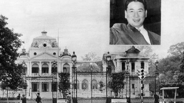 Phủ Tổng thống với hình ông Diệm trong ảnh chụp hồi đầu thập niên 60