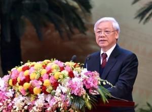 Tổng Bí thư Nguyễn Phú Trọng phát biểu tại Lễ kỷ niệm 85 năm Ngày thành lập Đảng. Ảnh: VGP/Nhật Bắc