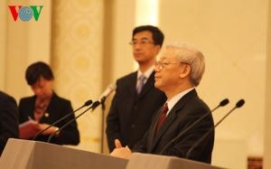 Tổng Bí thư Nguyễn Phú Trọng và Tổng Bí thư, Chủ tịch nước Trung Quốc Tập Cận Bình dự Gặp gỡ Hữu nghị Thanh niên hai nước Việt-Trung lần thứ 15. Ảnh: TTXVN