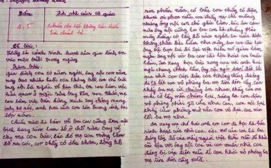 """Đề bài: Hãy tả cảnh sinh hoạt của gia đình em vào một buổi trong ngày. (Lời phê của cô giáo: """"Nhiều chi tiết không cần thiết. Sai lỗi chính tả. – 4,5 điểm)."""