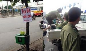 Thùng trà đá miễn phí đặt trên đường Giải Phóng bị thu giữ. Ảnh: Nam Anh