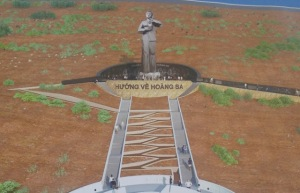 """NTB - Quảng Ngãi: Đặt đá xây dựng khu tưởng niệm """"Nghĩa sĩ Hoàng Sa"""" và khắc tên 74 lính VNCH. Ảnh: Thanh Niên"""