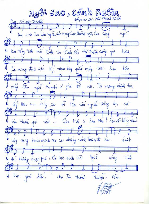 Bản nhạc Ngôi Sao Cánh Buồm