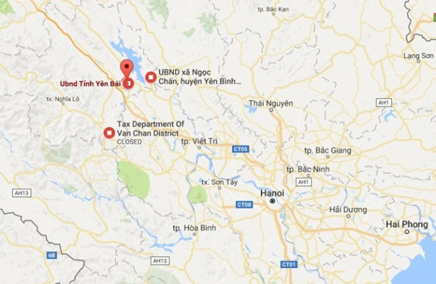 Trụ sở UBND tỉnh Yên Bái cách trung tâm Hà Nội 160 km. Ảnh: Google maps.
