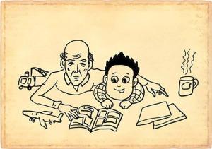 Ông với cháu cùng chơi - Tranh của họa sĩ trẻ Thăng Fly (st trên mạng)